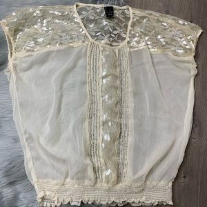 BKE | Cream Shimmer Beaded Sheer Panel Blouse